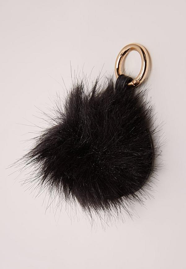 Pom Pom Mirror Keyring Black