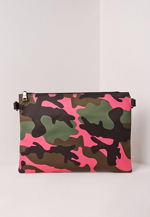 Camo Clutch Bag Pink