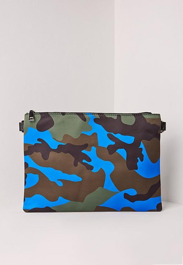 Camo Clutch Bag Blue