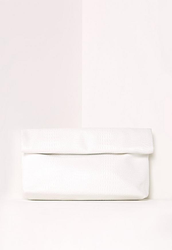 Croc Roll Top Clutch Bag White