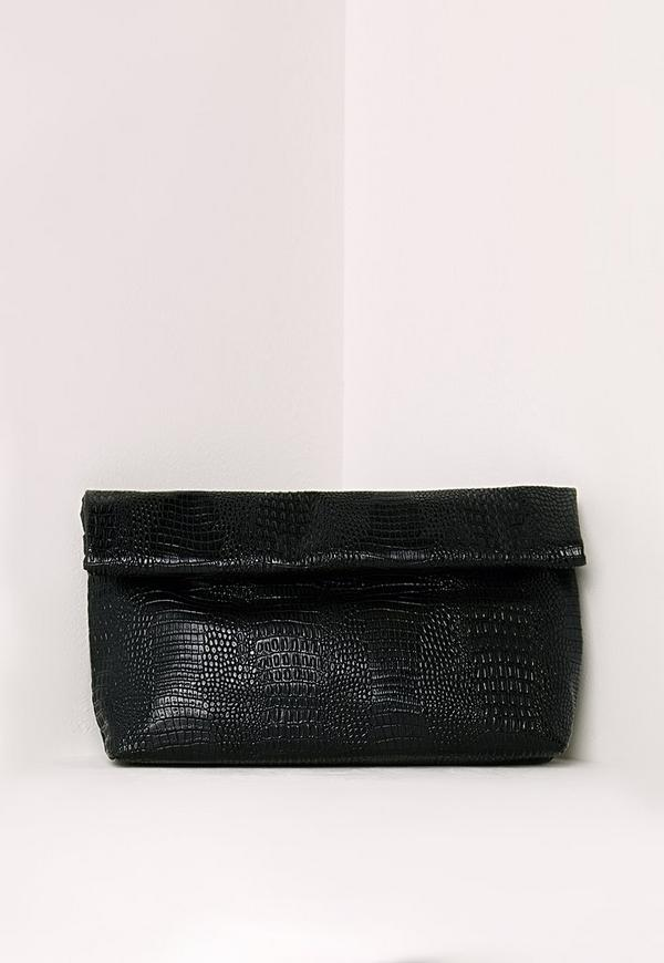 Croc Roll Top Clutch Bag Black
