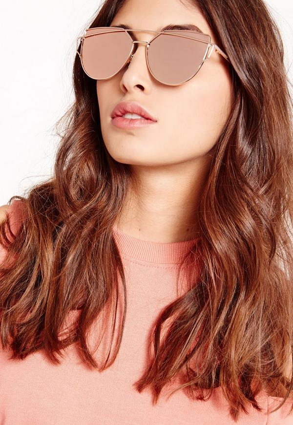 Mirrored Cat Eye Sunglasses Rose Gold Missguided
