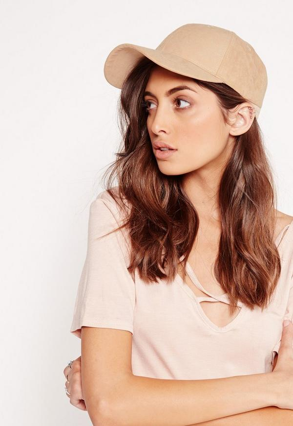 Faux Suede Baseball Cap Nude