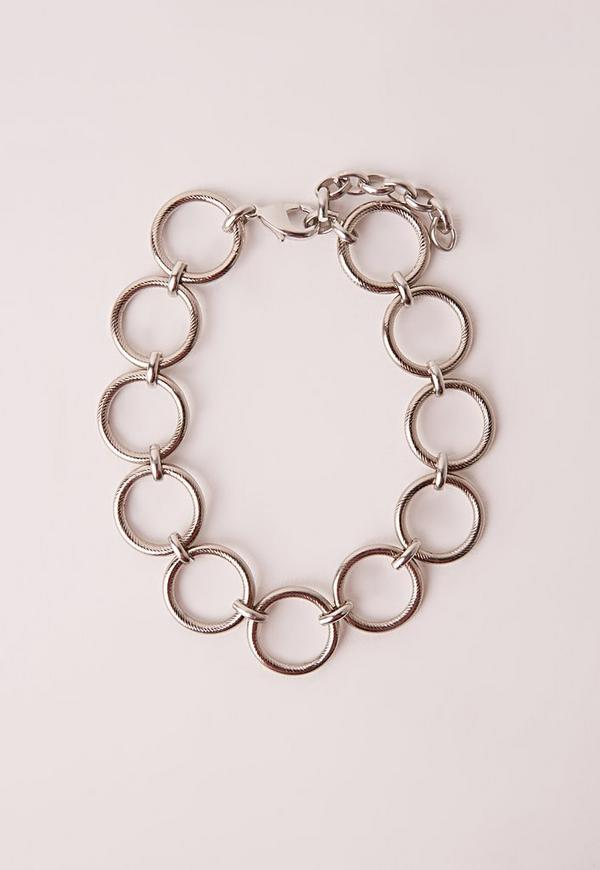 Circle Choker Necklace Silver