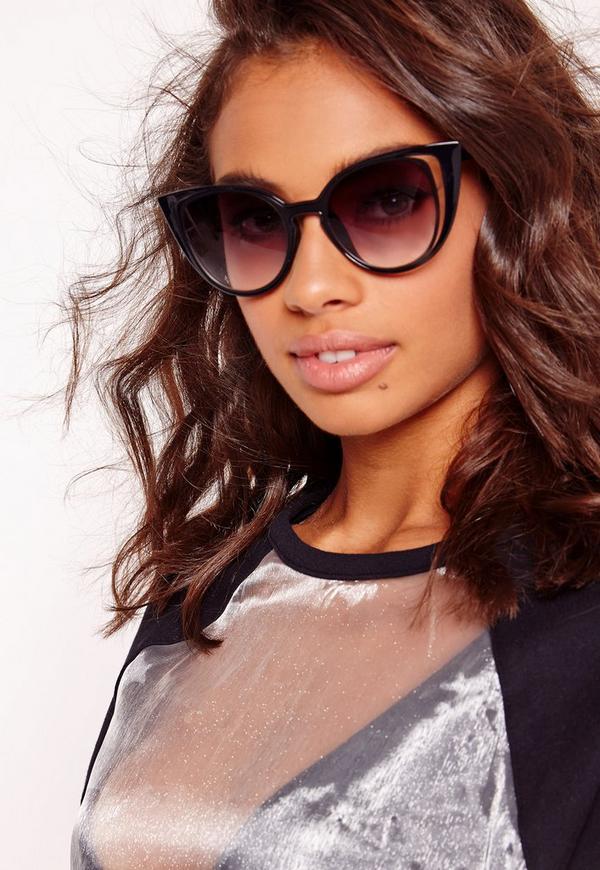 Cut Out Cat Eye Sunglasses Black
