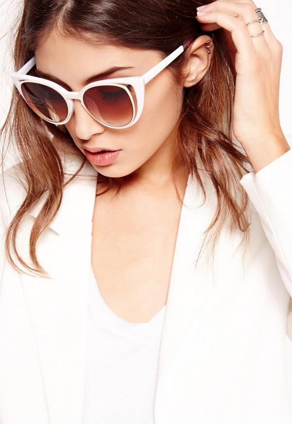 Cut Out Cat Eye Sunglasses Cream