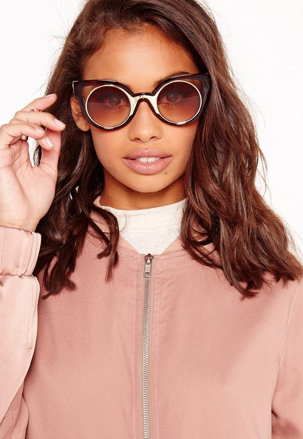 Cut Out Round Frame Sunglasses Brown