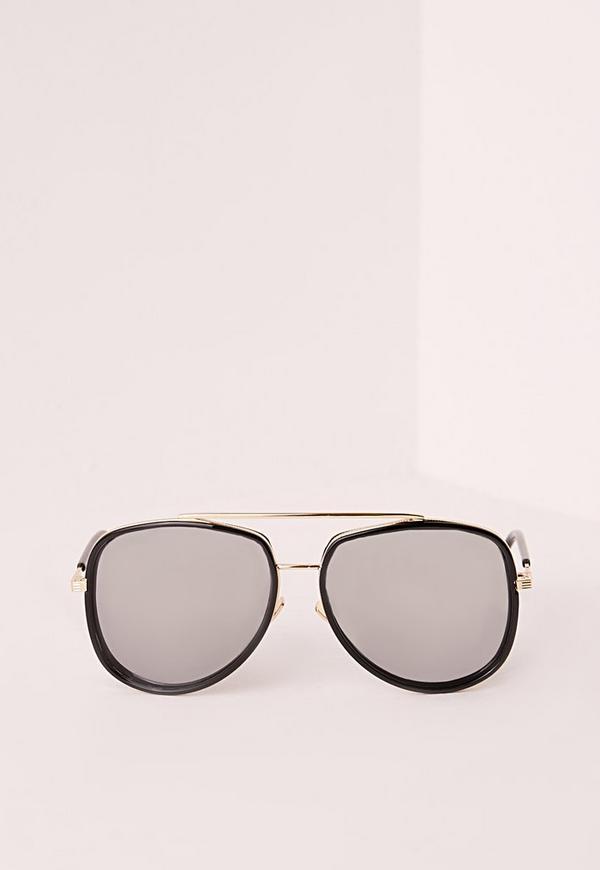 Clear Frame Oversized Aviator Sunglasses Black | Missguided