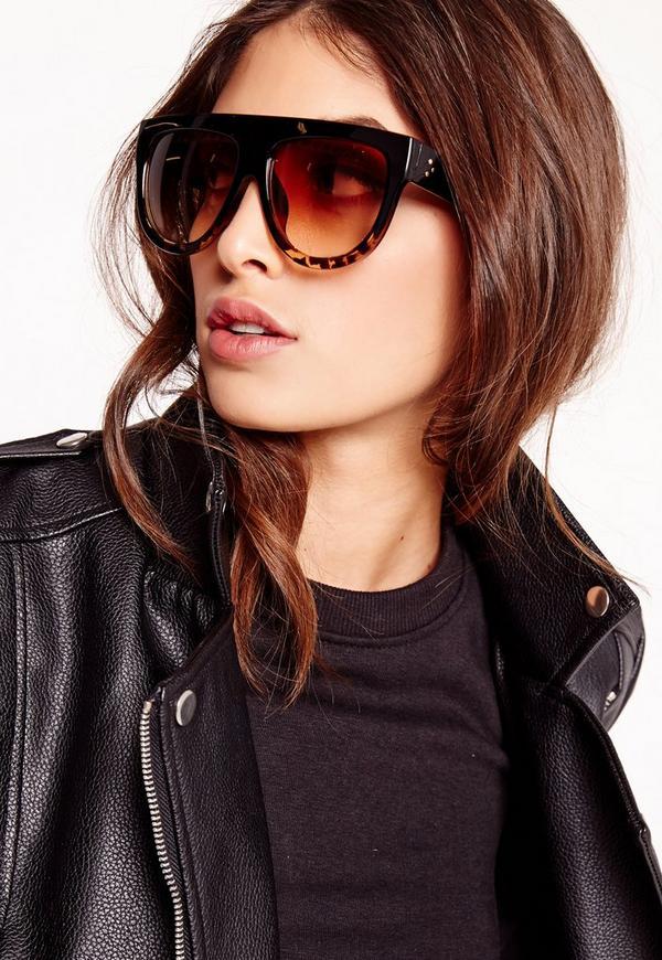 Oversized Flat Bar Tortoise Shell Sunglasses Brown