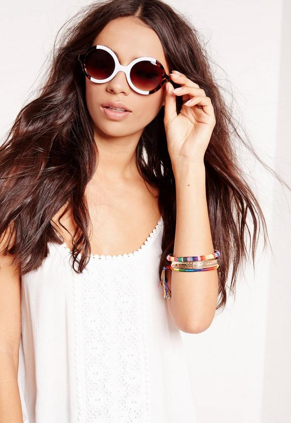 Round Two Tone Sunglasses White
