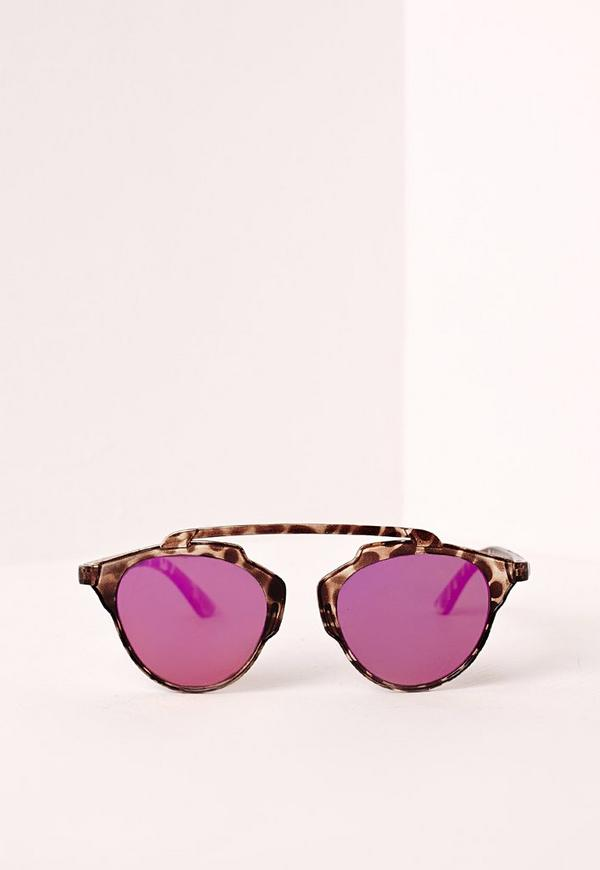 T-Bar Tortoise Shell Sunglasses Pink