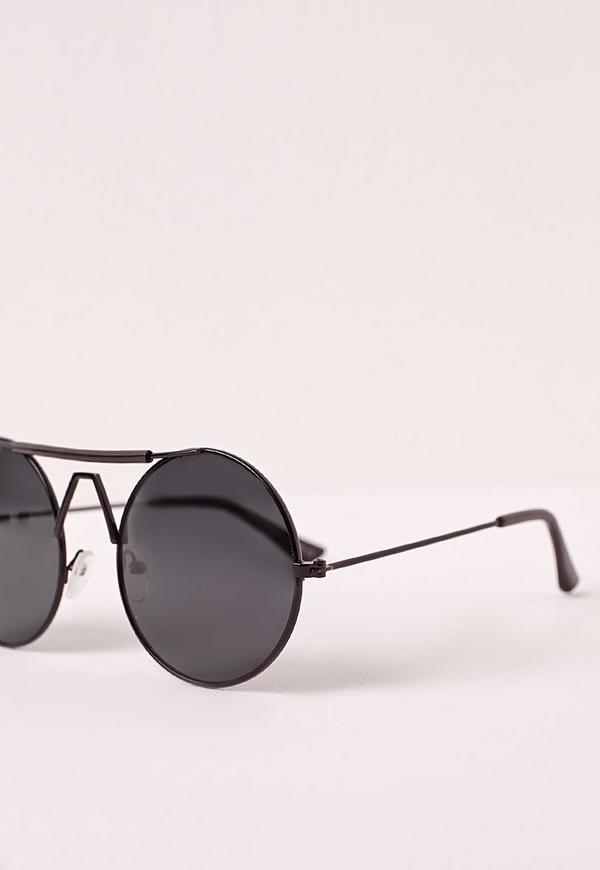 Wire Frame Round Sunglasses Black | Missguided