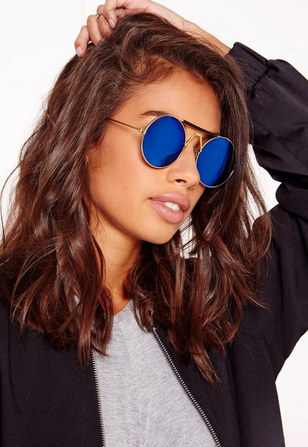 Wire Frame Round Sunglasses Blue