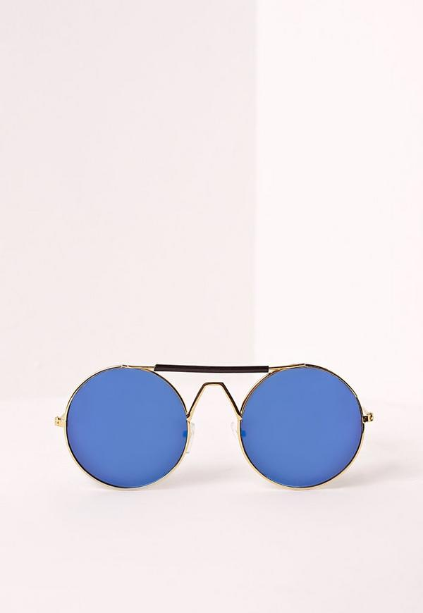 Wire Frame Round Sunglasses Blue | Missguided