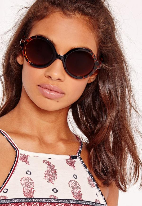 Two Tone Round Frame Sunglasses Brown