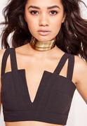 Metal Layered Choker Necklace Gold
