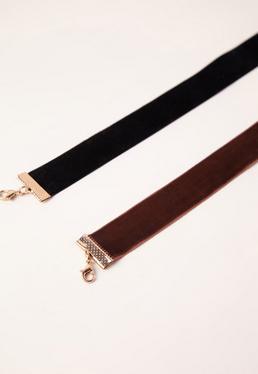 Black & Brown 2 Pack Choker Necklace Set