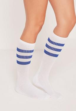 Chaussettes blanches rayures bleues