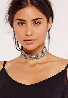 jewelled stone square choker necklace silver