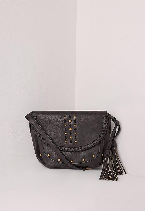 Studded Tassel Saddle Bag Black