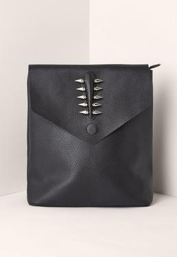 Black Piercing Trim Faux Leather Backpack