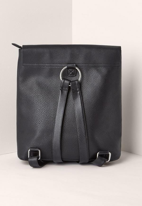 sac dos noir simili cuir d tails m talliques missguided. Black Bedroom Furniture Sets. Home Design Ideas