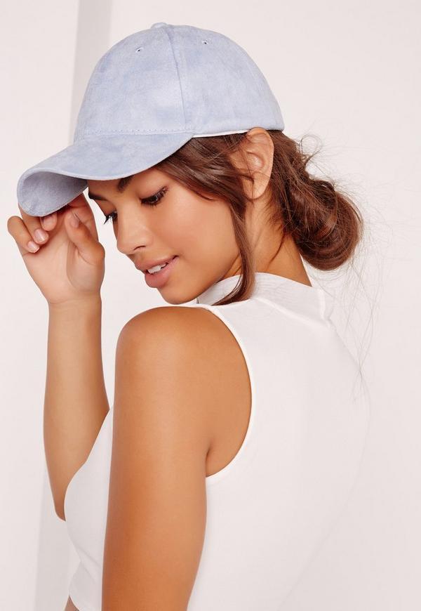 faux suede baseball cap pastel blue
