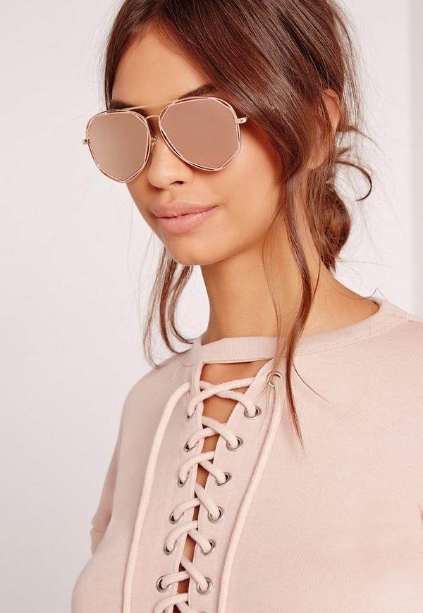 Geometric Frame Sunglasses Pink