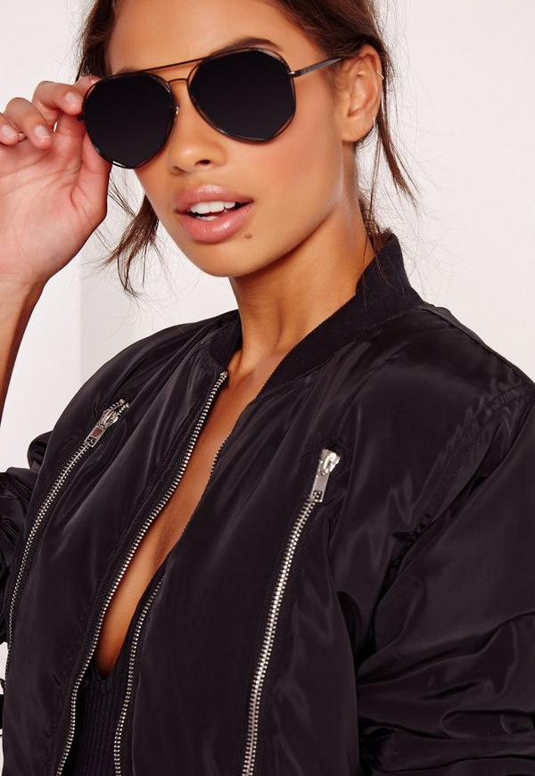 Cut Out Geometric Frame Sunglasses Black