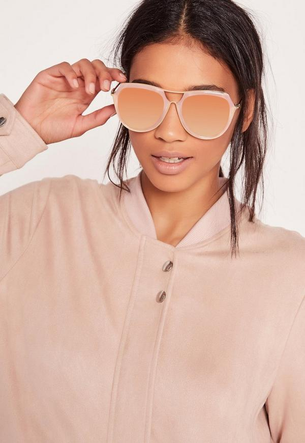 Cut Out Oversized Coloured Frame Sunglasses Pink