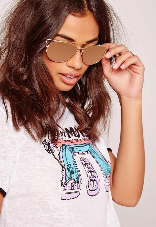 Wire Frame Reflective Lense Sunglasses Pink