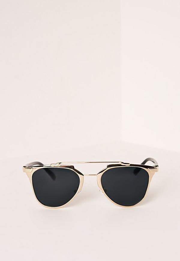 T-Bar Metal Frame Sunglasses Black/ Gold