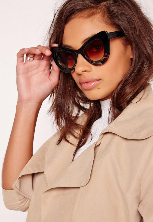 Tortoise Shell Thick Cateye Frame Sunglasses Brown