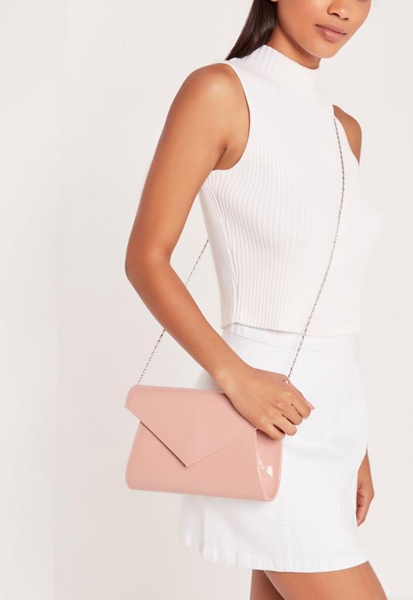 Patent Envelope Clutch Bag Blush Pink