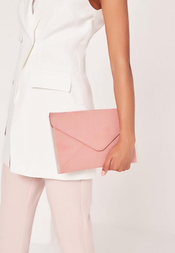 Faux Suede Metal Edge Clutch Bag Pink