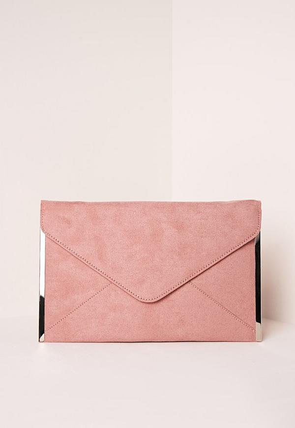 Very Faux Suede Metal Edge Clutch Bag Pink | Missguided EO65