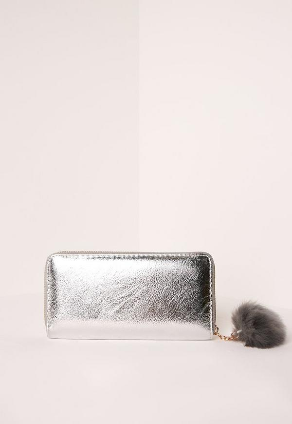 Metallic Pom Pom Purse Silver