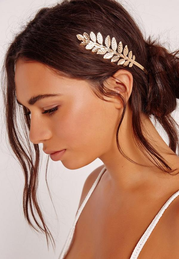 Leaf Detail Hair Crown Gold