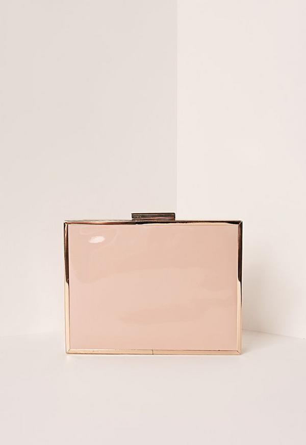 Patent Box Clasp Clutch Bag Nude