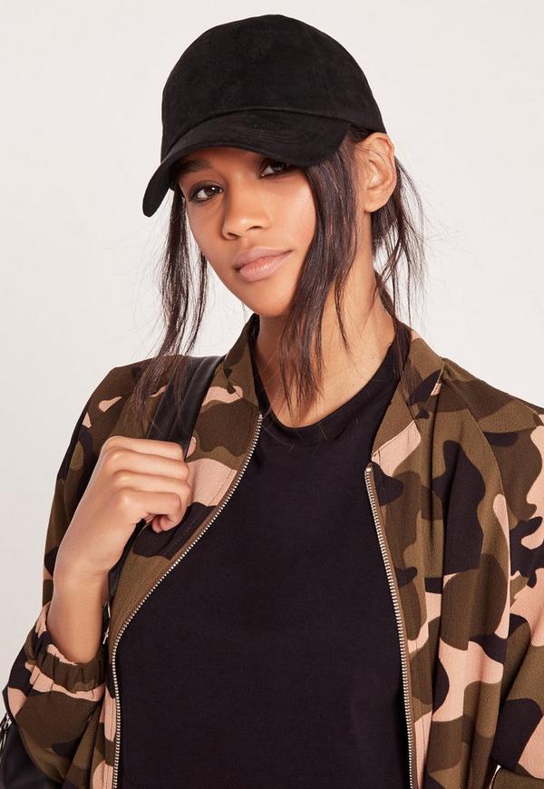 faux suede baseball cap black