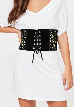 Black Floral Embroidered Waist Belt