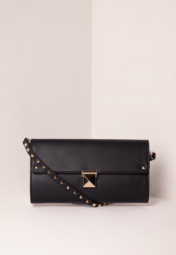 Stud Detail Clutch Bag Black