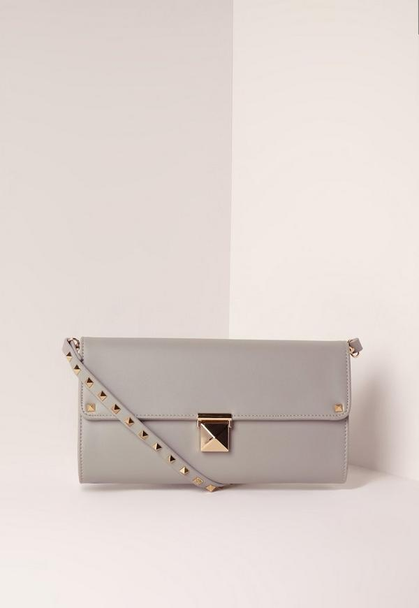 Stud Detail Clutch Bag Grey