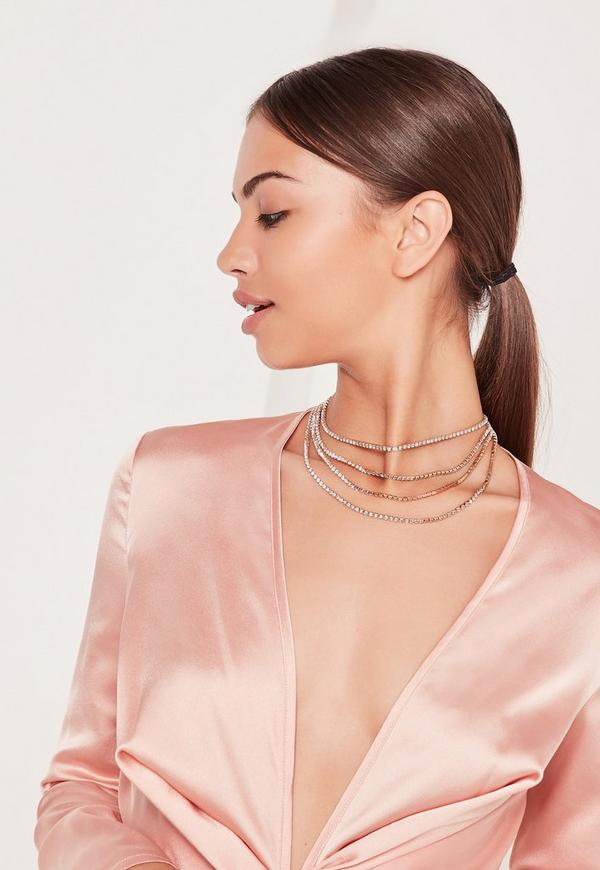 Layered Diamante Necklace Gold