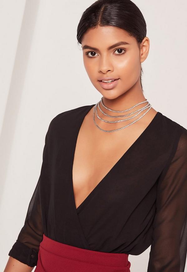 Layered Diamante Necklace Silver