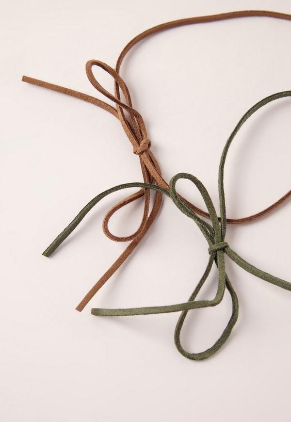 Khaki & Tan 2 Pack Faux Suede Choker Necklace