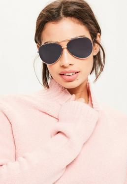 Gold Flat Lenses Sunglasses