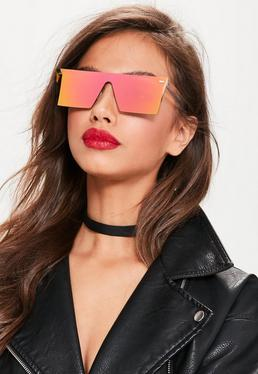 Flache Visor Sonnenbrille in Rosa