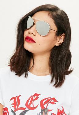 Silver Frame Mirrored Aviator Sunglasses