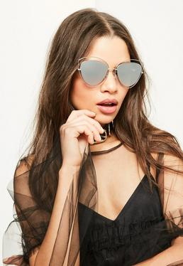 Metallische Cat-Eye Sonnenbrille im transparenten Katzenaugen-Rahmen mit Spiegel-Gläsern in Silber